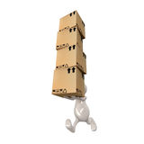 3d people man delivering cardboard boxes. 3d cute people man delivering cardboard boxes Stock Photography