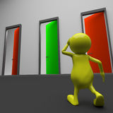 3d people man and different doors Stock Photography