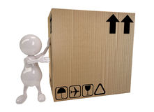 3d people man shows on big cardboard box. 3d cute people man shows on big cardboard box Royalty Free Stock Photography