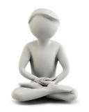 3d people - meditation. 3d the person meditating. 3d image. Isolated background Royalty Free Stock Photos