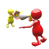 3D People with megaphone. Red and yellow Royalty Free Stock Photography