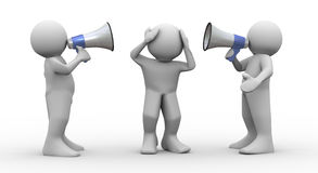 3d people megaphone announcement. 3d render of people speaking loudly to frustrated man using megaphones Stock Image