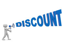 3d people with a megaphone and word DISCOUNT. 3d render Royalty Free Stock Image
