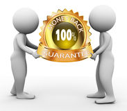 3d people and moneyback guarantee. 3d men holding 100% money back guarantee label Royalty Free Stock Photos
