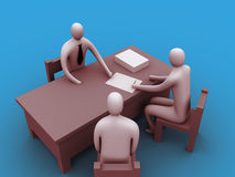 3d people in an office.  royalty free illustration