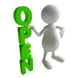 3D People with Open Sign Stock Photo