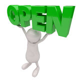3D People with Open Sign in Hands Stock Photography