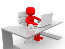 3d people. Person to an office and a laptop. 3d render illustrator Royalty Free Stock Images