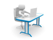 3d people. Person to an office and a laptop Royalty Free Stock Photos