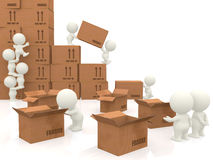 3d people piling up boxes Royalty Free Stock Photo