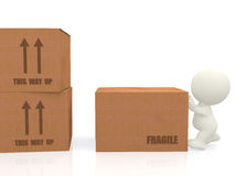 3d people piling up boxes Stock Photos
