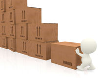 3d people piling up boxes Royalty Free Stock Photography