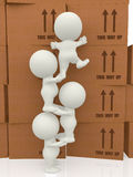 3d people piling up boxes Royalty Free Stock Images