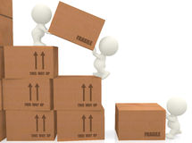 3d people piling up boxes Royalty Free Stock Photos
