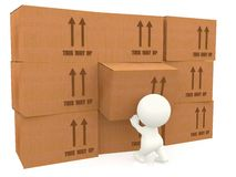 3d people piling up boxes Stock Image