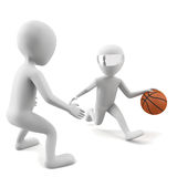 3d people play basketball. 3d image Royalty Free Stock Photos