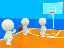 3D people playing basketball Royalty Free Stock Image