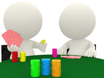 3D people playing cards Stock Photo