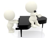 3D people playing piano and singing Stock Photography