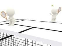 3D people playing tennis Royalty Free Stock Photos