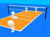 3D people playing volleyball Stock Photo