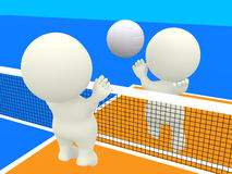 3D people playing volleyball Royalty Free Stock Photo