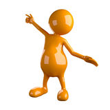 3D People Pointing Up with Finger Royalty Free Stock Images
