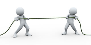 3d people pulling rope Royalty Free Stock Photos