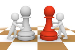 3d people pushing pawns Royalty Free Stock Photo