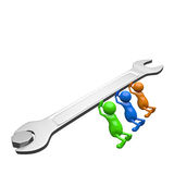 3D People pushing Wrench Royalty Free Stock Images