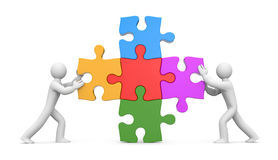 3d people with puzzles. Partnership. Image contain the clipping path Royalty Free Stock Image