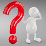 3D People with Question Mark Stock Photography
