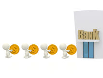 3D people queuing at the bank Royalty Free Stock Photos