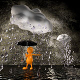 3d people rain with big raindrops. 3d cute people rain with big raindrops Stock Photo
