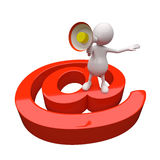 3D People with Red Email Icon Royalty Free Stock Photos