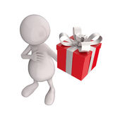 3D People with Red Gift Box Stock Photos
