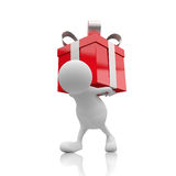 3D People with Red Gift Box. On White Background royalty free illustration