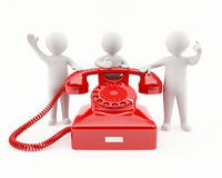 3D people with a red telephone. Contact us concept Royalty Free Stock Photo