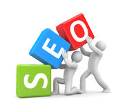 3d people and SEO. Business metaphor Royalty Free Stock Images