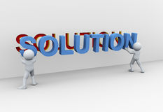 3d people and solution. 3d Illustration of people placing word solution. 3d rendering of human character Stock Images