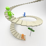 3D People Stairs to Success. On Light Background Stock Photos