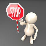 3D People with Stop Sign Royalty Free Stock Photo