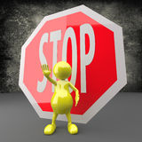 3D People with STOP Sign Royalty Free Stock Photos