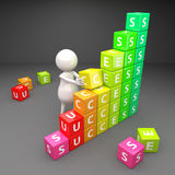 3D People Success with Cubes Stock Photo