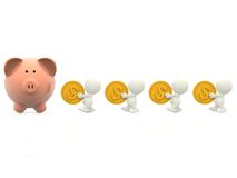 3D people taking money to a piggybank Stock Image