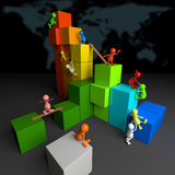 3D People Teamwork with Colorful Blocks Stock Photography