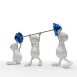 3D People Teamwork Holding Blue Weights. On White Background Stock Photos