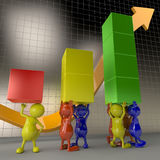 3D People Teamwork, Holding Chart Elements Stock Photography