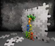 3d people teamwork with puzzle Stock Image