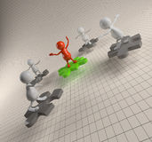 3D People Teamwork with Puzzle Royalty Free Stock Images